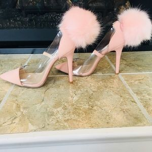 Blush Pom Leather and Clear Heels